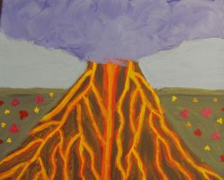 erupting volcano painting by AnaInTheStars