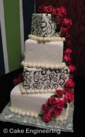 Black swirl and red rose cake by cake-engineering