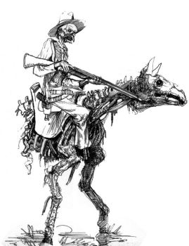 Bipedal Horse and rider zombie by sonofamortician
