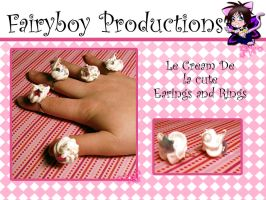 Cream Rings and Earings by LunarFoxDesigns