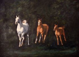 Three horses - painting by NetRaptor