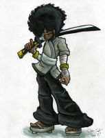 Commission- 'Afro Samurai by Sea-Salt