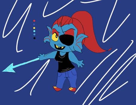 Undyne (the Undying) Chibi by TheGoldenMember123