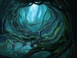 lake in the forest by Abarai-kun