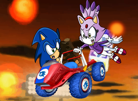 Sonic and Blaze in Double Dash by DarkraDx