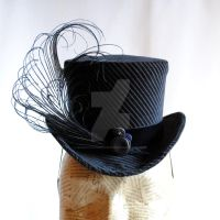 Striped Velvet Neo-Victorian Mini Top Hat by RagDolliesMadhouse