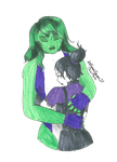 Commission: She-Hulk and Nico Minoru by introvertqueen37