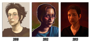 3 (4?)years of self portraits by daPatches