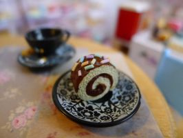 Gooey chocolate roll cake by LittlestSweetShop