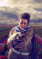 APH: Rabbit, scarf and tulips by Abidos