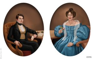 Ms Tietjens and her husband, c.1840 by Eves-Rib