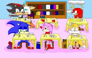 sonic and guys at school by shadowlovesrouge