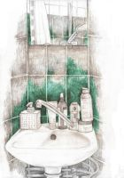 Mirror in the bathroom by Finnguala