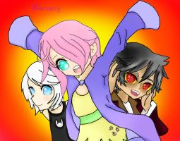 Angel, Fluttershy, and Discord Human Verison by 8Derone