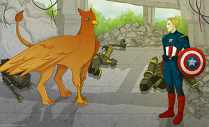 Griffin!Harry and Captain America by Lekaiel