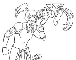 Korra VS Rainbow Dash by Yamino