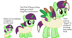 NEW SPECIES- Burrito Ponies- ref sheet by LittleSnowyOwl