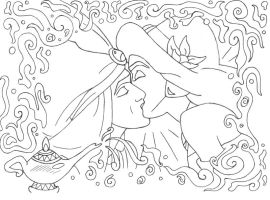 Aladdin and Jasmine lineart by lizzzy-art