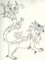 FrownY The fire beast cat -both forms- by Dysfunctional-H0rr0r