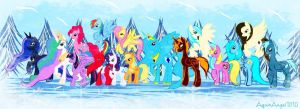 Gift: Happy Holidays Every pony by AquaAngel1010