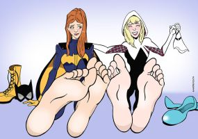 Commission: shoeless Batgirl and Spider-Gwen by sandrock74