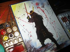Painting of a Samurai by Finihous