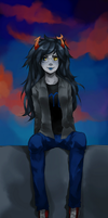 Vriska on rooftop by Flarefyre