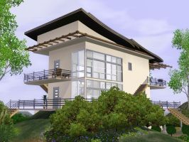 Sims 3 Modern box house by RamboRocky