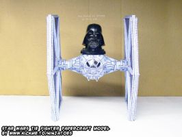 Chibi Darth Vader flying my papercraft TIE-fighter by ninjatoespapercraft