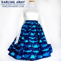 Jawsome Shark Vintage Inspired Tea Length Skirt by DarlingArmy