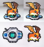 FOR SALE Perler Bead Patamon w/ Digivice Stand by NerdyNoodleLabs