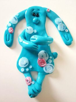 Fimo Blue Rabbit Magnet by mesash