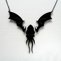Cthulhu Perspex Necklace (black) by CthulhuJewellery