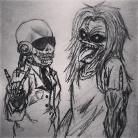 Vic Rattleahead and Eddie the Head by YazmethMaiden