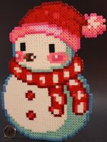 Snowman Red by KokanutPerlers