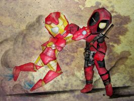 ironman and deadpool by crookedinfinity