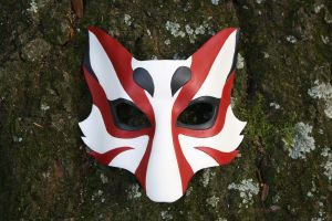 Kabuki Kitsune Leather Mask by SilverCicada