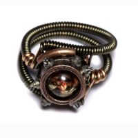 Steampunk sepia Amber ring by CatherinetteRings