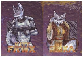 Scrappy Badge Set:  Kitt and Ryka by wielderofthewind