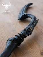 Skyrim Dwarven Black Bow of Fate - close-up (2) by Folkenstal