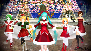 [MMD]  - Vocaloid Merry Christmas Wallpaper by DeoFairyNOL