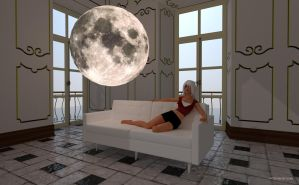 Amy and the moon EXPLORE THE SPACE by mCasual