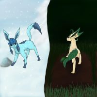 Two sides-Ice and Grass by Shinkou-san