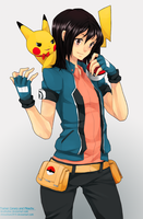 Trainer Canary and Pikachu by chisacha