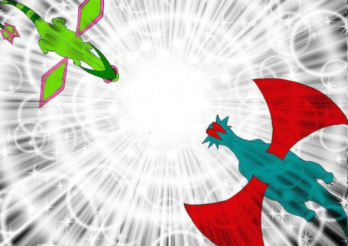 Flygon and Salamence by Silverflutter