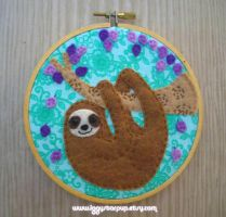 Happy Sloth Embroidery by iggystarpup