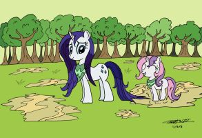 MLP  Rarity and Sweetie Belle Play in the Puddles by WillisNinety-Six