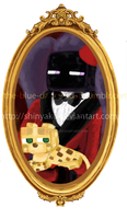 Dapper Enderman and ocelot by Shinyako
