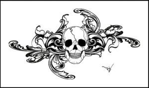 Gothic Skull Filigree Tat V3 by Quicksilverfury