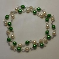 Green and white pearl necklace by bad-ass